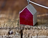 brushed enamel house necklace -  crimson red modern rustic clay house 6199