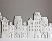 porcelain city architectural objects - unglazed porcelain sculptures for desk or shelf - Ceramic clay houses by Artisanie Europe