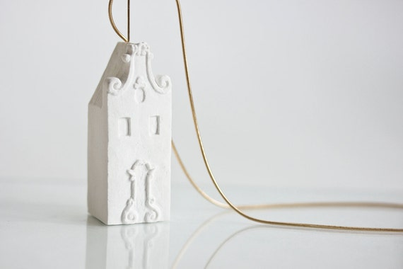 Amsterdam Necklace Architecture Clay Necklace 14k Gold Filled - Clay house art jewelry by Artisanie Europe Gift for women traveler girls