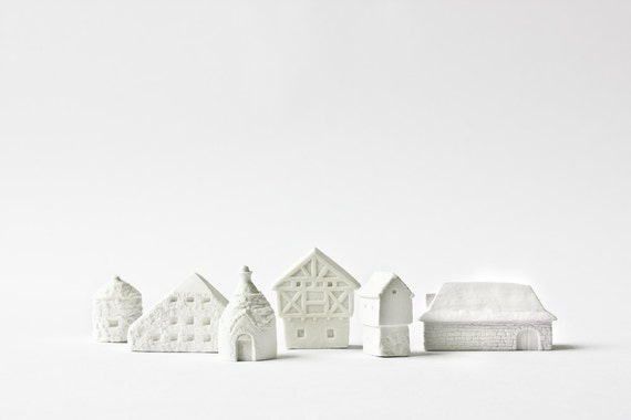 6 clay countryside houses architecture set