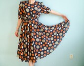 RESERVED for Eliza MeRu Vintage day dress polka dot navy blue white orange grey gray medium large