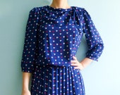 RESERVED FOR DES Vintage 50s 60s day dress / pleated skirt / navy blue white red / medium