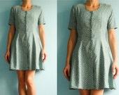 Vintage french dress / mint green white / polka dot / buttoned / short mini dress/ medium
