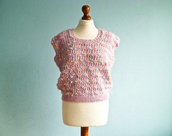 Vintage 80s pastel pink sweater vest / top / fluffy fuzzy knit sweater / short sleeve / medium
