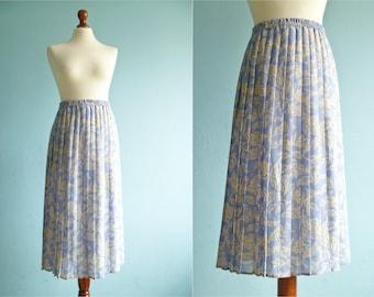 Vintage pastel blue skirt / cream floral print / accordion pleats / pleated / long / medium
