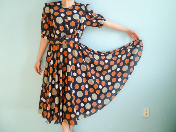 RESERVED for Eliza MeRu Vintage day dress polka dot navy blue white orange grey gray medium large