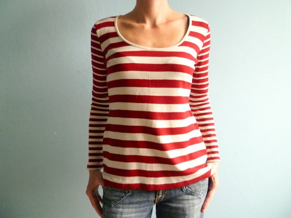 Vintage 80s top t shirt cotton red white stripes slouchy medium large