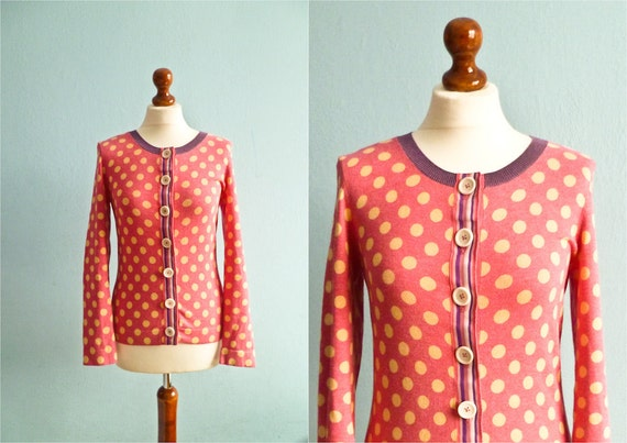 Vintage polka dot top blouse pink yellow violet buttoned medium