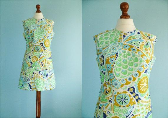 Vintage 60s mod dress / day dress / abstract floral print / short mini dress / sleeveless / large