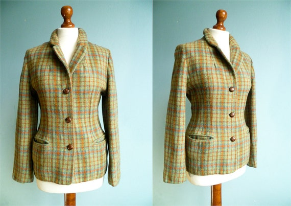 Vintage classic wool jacket / pastel colors green blue orange / medium