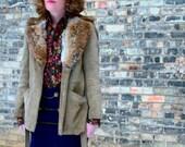 Vintage 1970s Leather & Fur Jacket