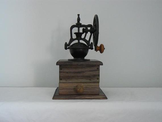 Vintage Style Mechanical Coffee Grinder - Handmade wooden base