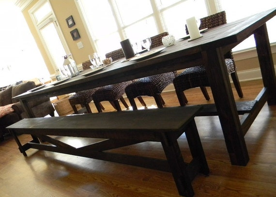items similar to extra long farmhouse dining table on etsy. Black Bedroom Furniture Sets. Home Design Ideas