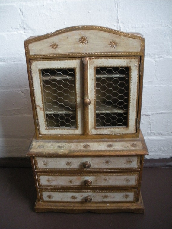 Vintage  Gold Florentine Italian Jewelry Box Dresser with Cabinet & Drawers, Jewelry Chest
