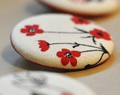 """1.25"""" Pinback Buttons - Floral Fabric Set of 4"""