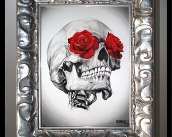 Rose Eyed Skull 8x10 Print