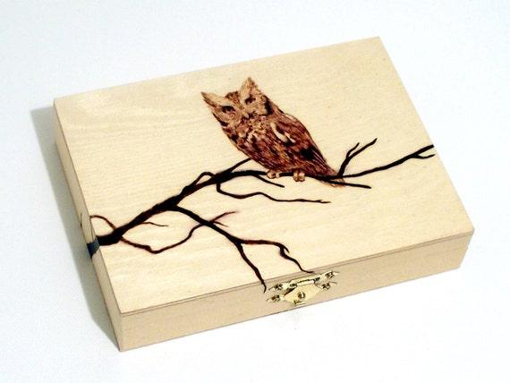Woodburned Owl Box