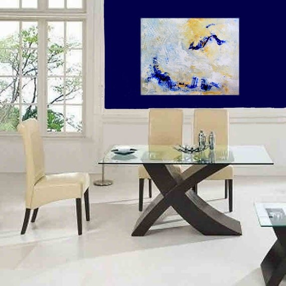 WaTeRfALL Original Abstract painting Wall Art Home Decor Sage Slate Cobalt Gold Tan White