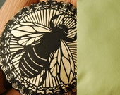 Black & Mint Round Bee Pillow