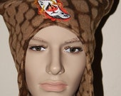 Earflap Hat Tattoo Ace With Horns Fun Funky Fleece Embroidered Design Brown Ready to Ship