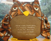 Football Paul Bear Bryant Owl Pillow Quote Quotable Fleece Softie Plush One of a Kind Ready to Ship