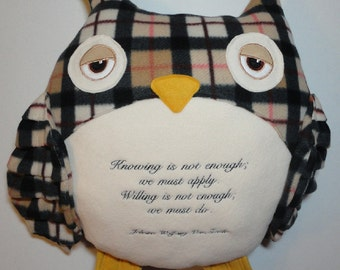 Plaid Owl Pillow Quote Quotable Fleece Softie Plush One of a Kind Made to Order