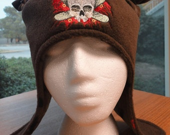 SK8R Skater Earflap Hat With Ears Ties Fun Funky Fleece Embroidered Design Ready to Ship