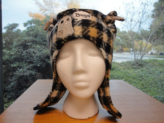 Earflap Hat Booya Ghost With Ears Fun Funky Fleece Embroidered Design Black Tan Houndstooth Made to Order