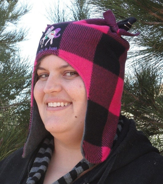Earflap Hat Punk Unicorn With Ears Fun Funky Fleece Embroidered Design Hot Pink Plaid Made to Order