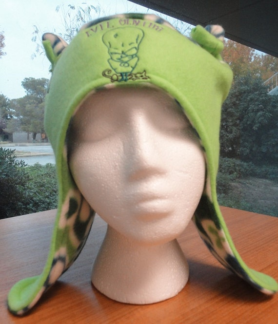 Evil Genius Earflap Hat With Ears Ties Fun Funky Fleece Embroidered Design Made to Order