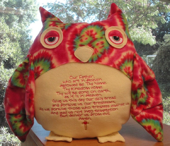 The Lord's Prayer Custom Owl Pillow Choose Your Own Fabric