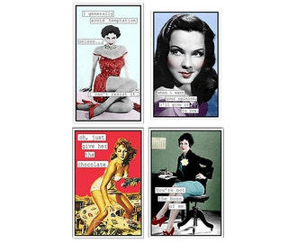 photo collage, Strong Women,tough women, feminist, fun, funny, chocolate, red, gold, mint, Blank Inside Note card SET OF 8