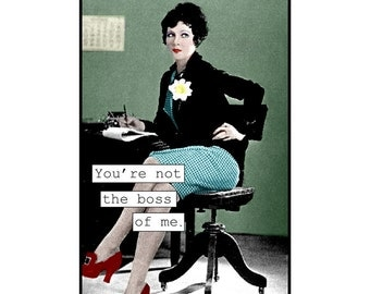 Mixed media collage photo collage, feminist, secretary, Fun, Funny, Blue, mint, teal, tough,Blank Inside Note Card, SET OF 4