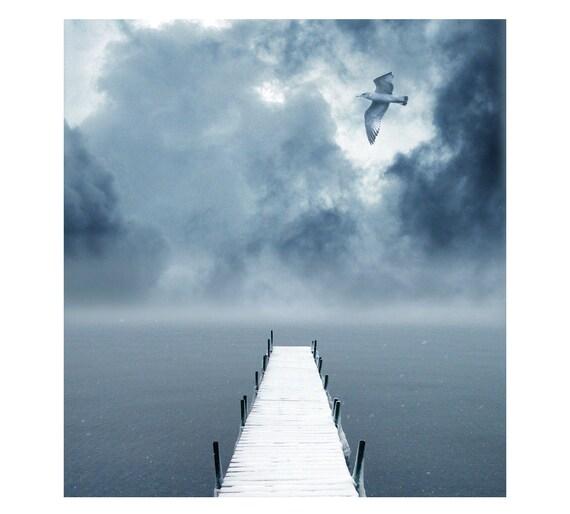 Winter Solitude, Snow, Stormy, Grey,White, Cottage, Beach, Birds,Water, Dock, kids wall art, nursery idea,  Lake Fine Art Photography 8x10