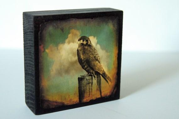 Set of 3 Wood Photo Blocks birds, crows, kestrel,telephone wire, clouds,stormy,teal,sepia,brown,black,rustic,cottage