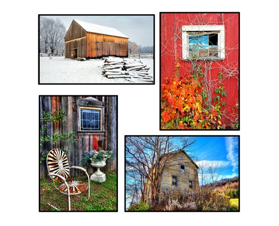 20% Off, Barns-SET OF 8 -Farm,Rustic,Weathered Wood, Country, Red, Sky Blue, Blank Inside Greeting Cards Set Number Two