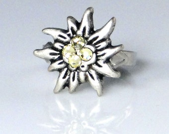 Edelweiss Ring handcrafted with Swarovski Crystals - adjustable 6 and up