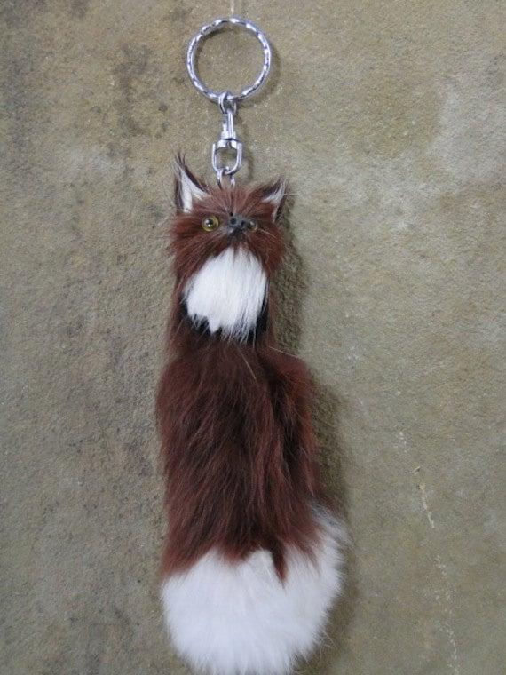 Red Fox Silver Keychain