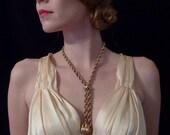 Vintage 1960's Boho Mad Men Braided Lariat Necklace