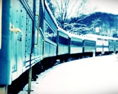 WINTER TRAIN (season series), a small town vintage locomotive 8x8 print - nostalgic railroad travel
