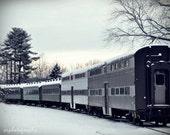 Winter Eve SUNSET TRAIN, an old town nostalgic locomotive 8x10 print