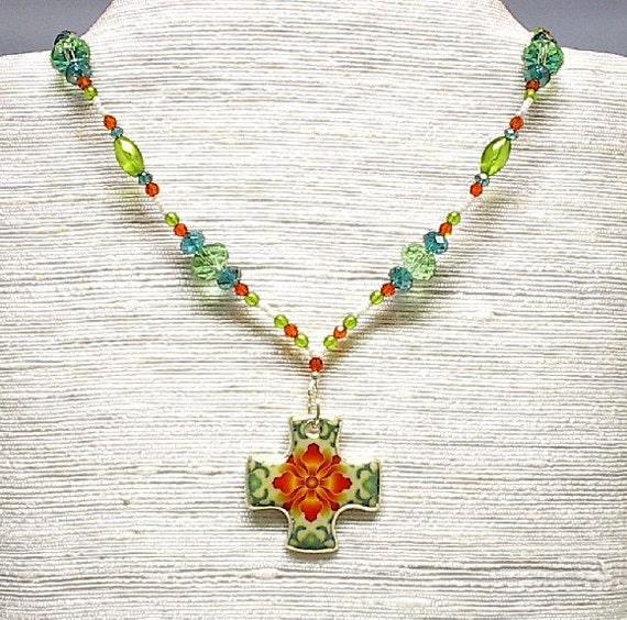 Beaded Necklace Maltese Cross Orange Teal Peridot