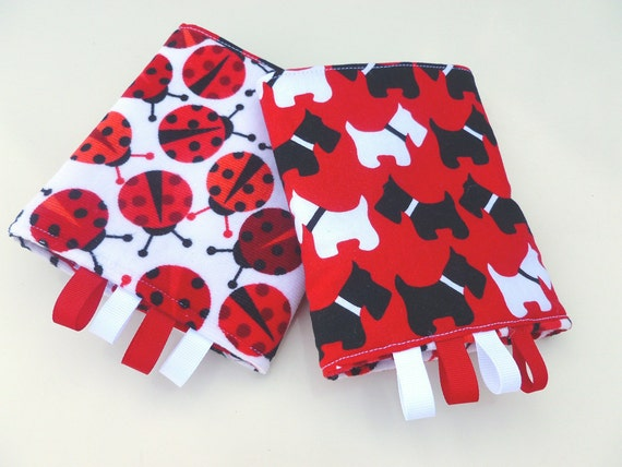 Reversible Drool Pads/Suck Pads for Baby Carriers-Scottie Dogs and Ladybugs from Robert Kaufman
