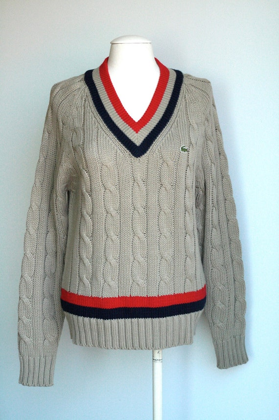 Izod Lacoste Boyfriend Tennis Cable Knit Sweater