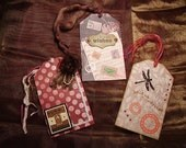 3 LARGE GIFT TAGS, Music Tag, Vintage, Dragonflies, Organza flower, Metals, Sheet Music, Distress Ink