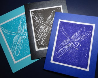 Dragonfly Lino-cut  All Occassion Greeting Card.    Art Card