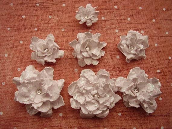 White Pearlescent Glittered Vintage Roses, Scrapbooking, Cardmaking, Embellishment, Altered Art, Gift giving