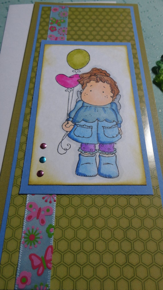 Handmade Stamped and Colored Cards. Ribbon. Fibres. Gift Giving