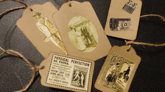 Vintage Image Kraft Tags, Journalling Tag, Gift Tag,     Attach to Gift Basket