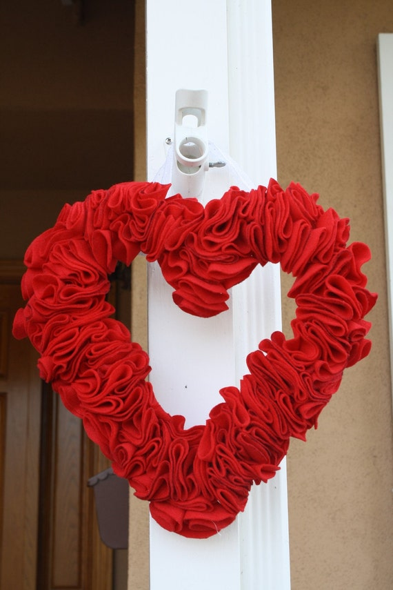 Wreath home decor valentine 39 s red heart felt door by for Heart decorations home